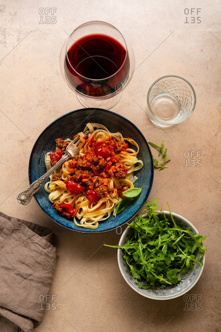 Overhead view of pasta Bolognese