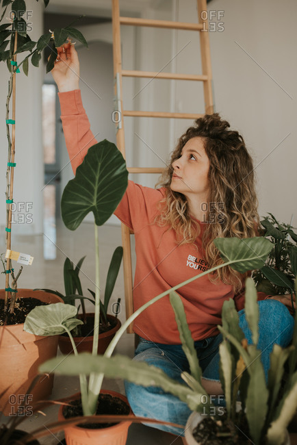 Blonde woman with curly hair tending to her plants