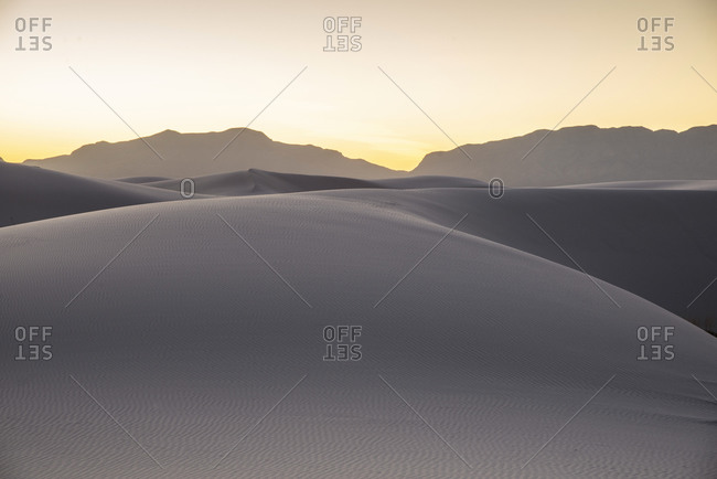 Landscape of White Sands National Park near Alamogordo, New Mexico at sunset