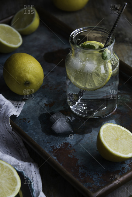 Close up of lemon infused water