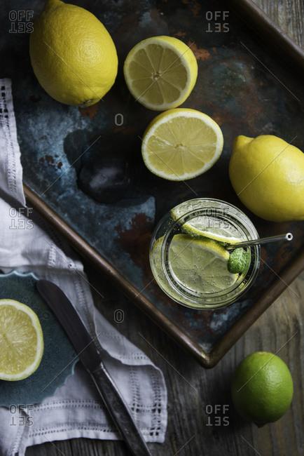 Overhead view of lemon infused water