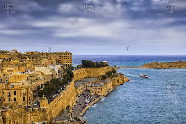 Malta- Valletta- View of cityscape and Grand Harbor