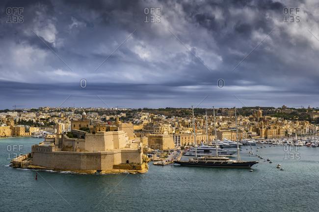Malta- Birgu- Fort St. Angelo and Vittoriosa Yacht Marina in Grand Harbor