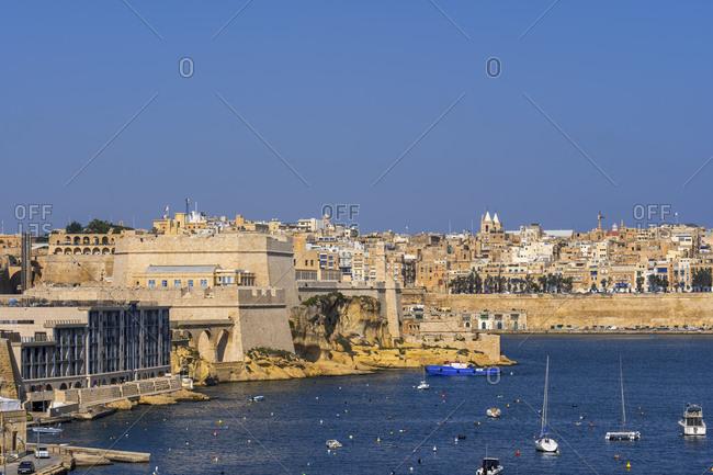Malta- Birgu- Fort St. Angelo and view of Valetta in distance