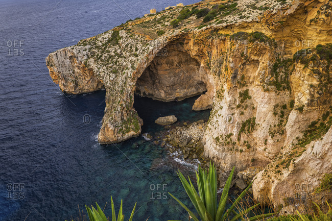 Malta- High angle view of Blue Grotto natural arch