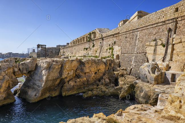 Malta- Valletta- Fortified wall of Fort Saint Elmo