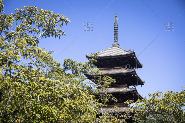 Japan- Kyoto Prefecture- Kyoto- Low angle view of Yasaka Pagoda standing against clear sky