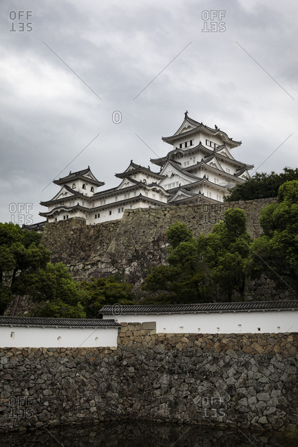Japan- Himeji- Stone wall and castle