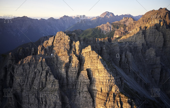 Austria- Tyrol- Axamer Lizum- Kalkkogel mountain at first morning light