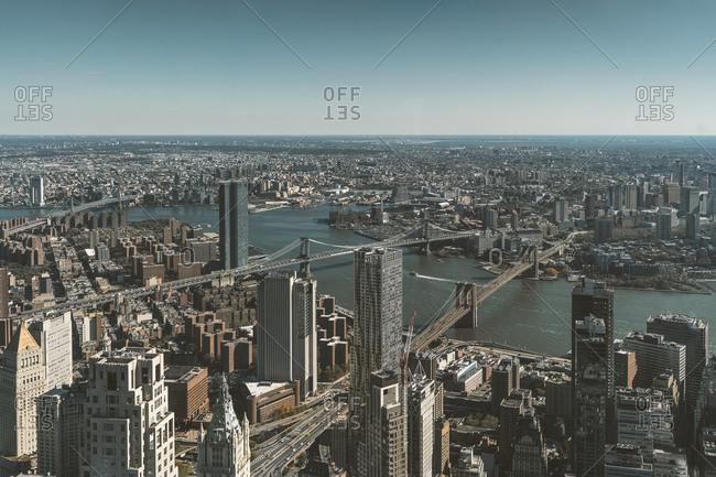 USA- New York- New York City- Aerial view of Manhattan and Hudson River
