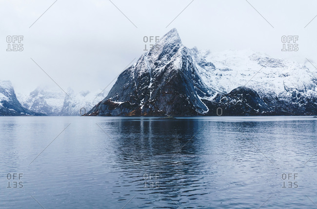 Snowcapped mountains at the coast- Hamnoy- Lofoten- Norway