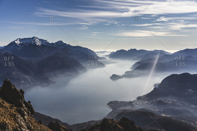 Panoramic view on Lake Como from the mountains- Italy
