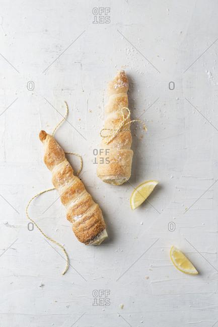 Studio shot of lemon cream filled pastries