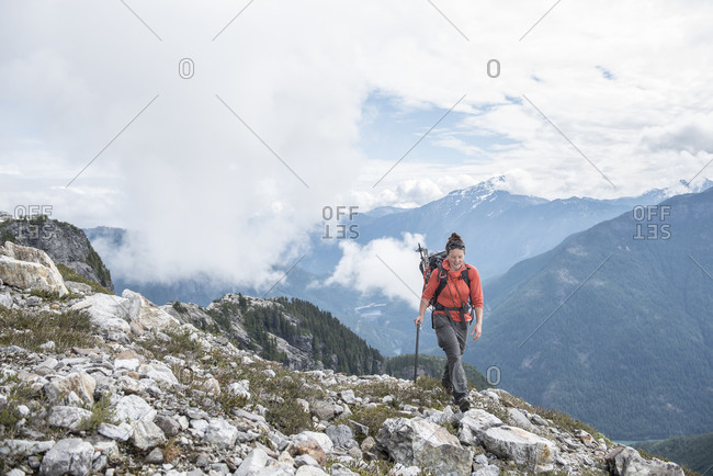 A woman hiking in North Cascades National Park.