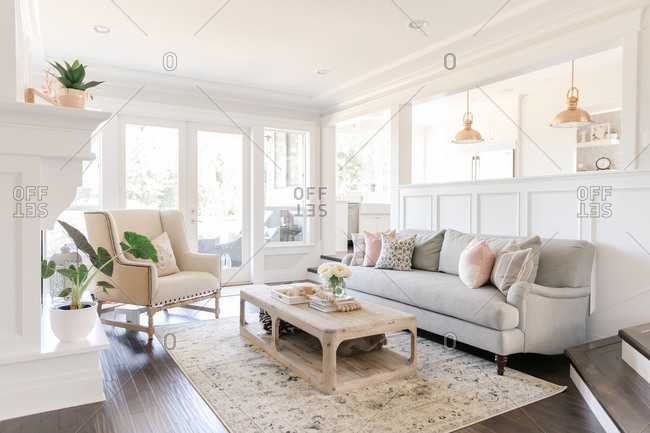 Modern bright white farmhouse living room
