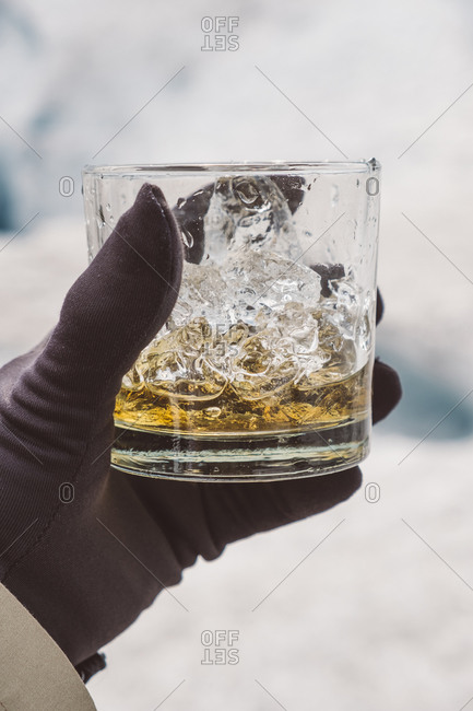 Crop discoverer with alcohol on glacier