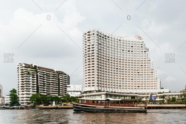 Thailand, Bangkok - April 28, 2009: River house at the banks of Chao Phraya River