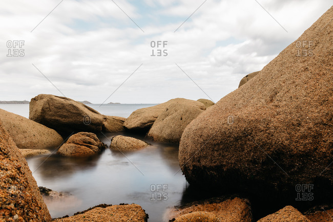 Scenic view of rocks in the coast in Brittany