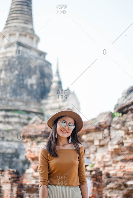 Beautiful woman who is on holiday in Ayutthaya, Thailand