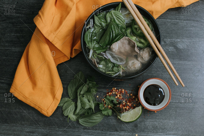 Tasty Bowl of Vietnamese Pho Soup with Ingredients
