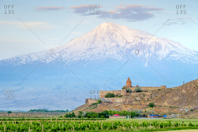 Armenia, Ararat Province, Lusarat - May 25, 2019: Khor Virap monastery and Mount Ararat at sunrise