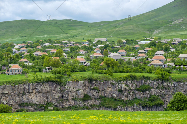 Village of Yaghdan at the edge of the Dzoraget River gorge, Lori Province, Armenia