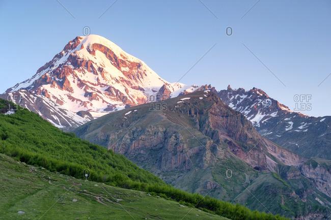 Mount Kazbek at sunrise, Stepantsminda, Mtskheta-Mtianeti, Georgia