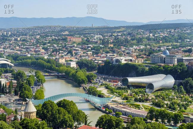 Georgia, Tbilisi, Tbilisi - June 5, 2019: Central Tbilisi, Rike Park and Bridge of Peace on the Kura (Mtkvari) River