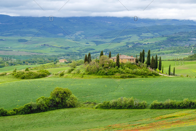 Italy, Tuscany, San Quirico d'Orcia - May 13, 2019: Podere Belvedere near San Quirico d'Orcia