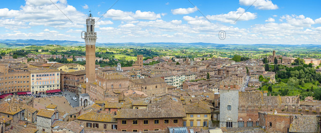 Italy, Tuscany, Siena - May 16, 2019: High angle view of buildings in old town