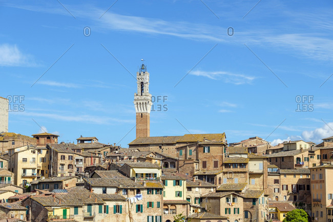 Torre del Mangia and buildings in old town, Siena, Tuscany, Italy