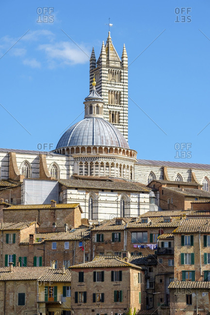 Duomo di Siena (Siena Cathedral) and buildings in old town, Siena, Tuscany, Italy