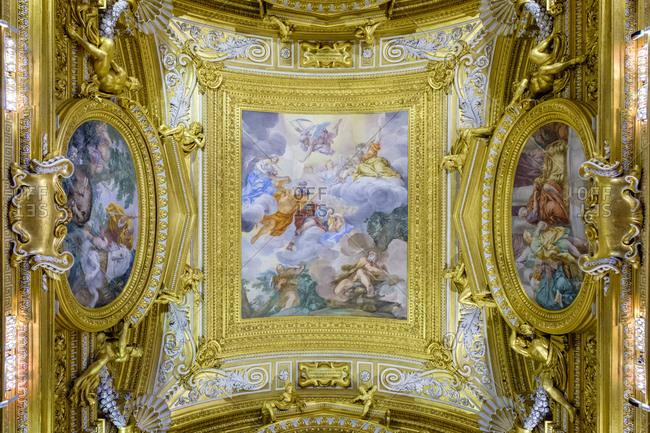 Italy, Tuscany, Florence - May 19, 2019: Frescoes in the Sala di Saturno (Saturn Room) at Palazzo Pitti (Pitti Palace)