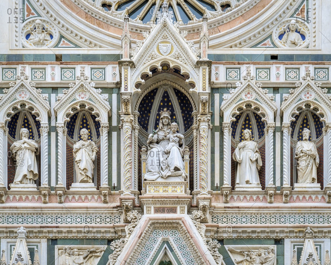 Facade of Florence Cathedral (Duomo di Firenze), Florence (Firenze), Tuscany, Italy