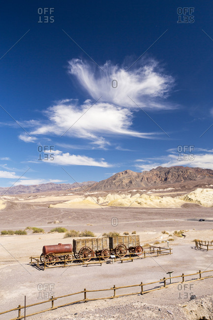 An old wagon train at the Harmony Borax works in Death Valley
