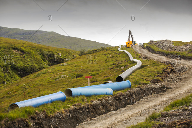A 700 Kw hydro power scheme being constructed on the slopes of Ben More on Mull, Scotland, UK.