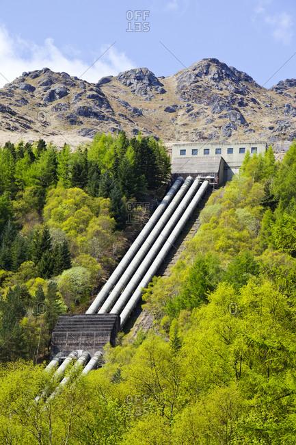 Sloy hydro power station on the shores of Loch Lomond, Scotland, UK.