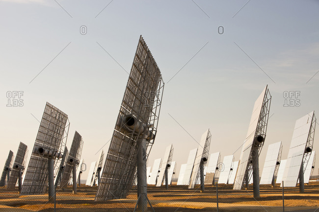 Heliostats, large reflective mirrors directing sunlight to the PS20 solar thermal tower, the only such working solar tower currently in the world.