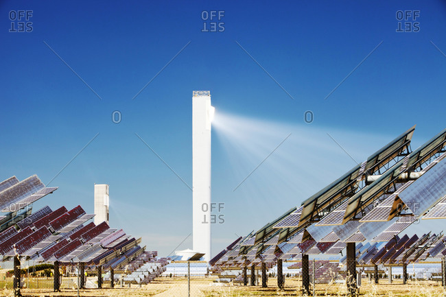 The PS20 solar thermal tower, the only such working solar tower currently in the world in Sanlucar La Mayor, Andalucia