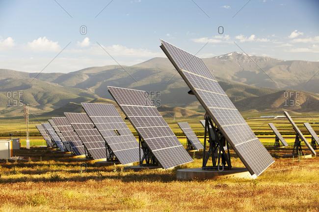 A photo voltaic solar power station near Guadix, Andalucia, Spain.