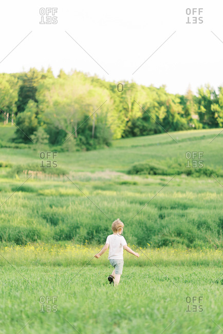 Little boy exploring a meadow.