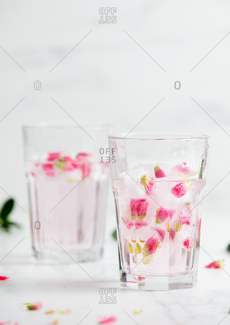 Martini with roses in the ice on a table