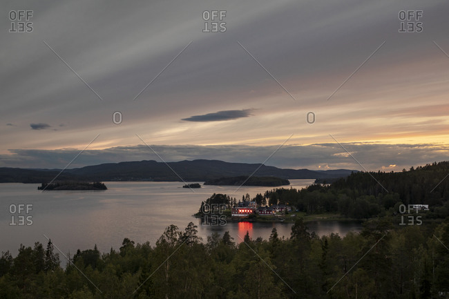 Sweden - June 24, 2019: Midnight sunset in northern Sweden