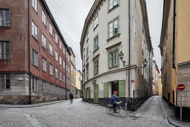 Stockholm, Sweden - July 15, 2019: Historic Stockholm streets and architecture