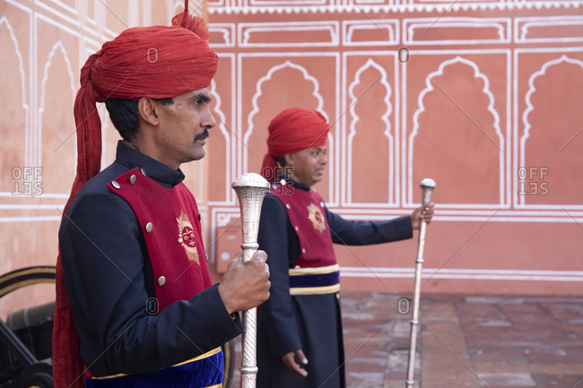 Jaipur, India - January 3, 2020: the city palace, entrance way guide/guards