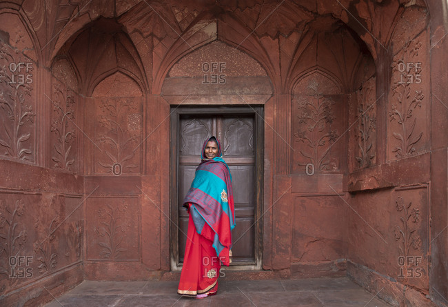 New Delhi, India - January 1, 2020: Indian tourist having photograph taken at the Red Fort