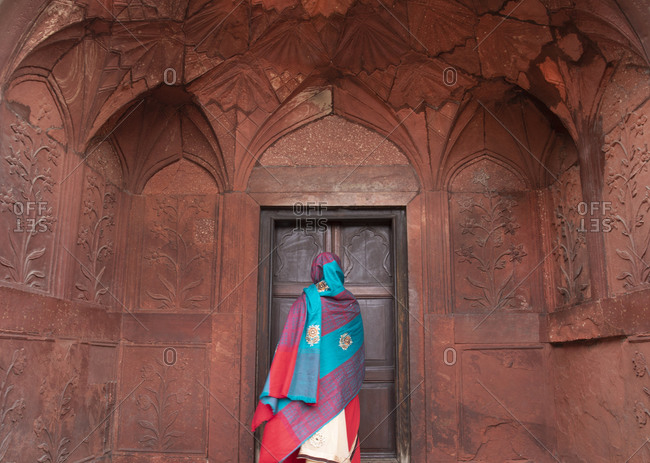 Indian tourist visiting the Red Fort, New Delhi, India