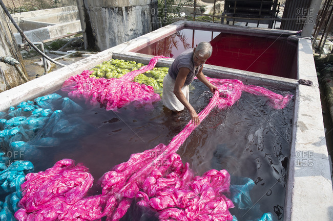 Jaipur, India - January 2, 2020: Textile dying worker in a vat of water washing dyed cloths