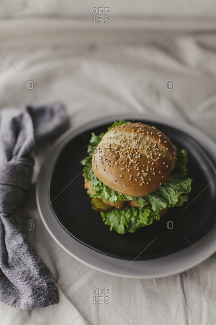 Overhead view of a fried chicken sandwich on a plate on white background