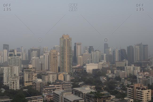 Smog covered skyline in Bangkok, Thailand